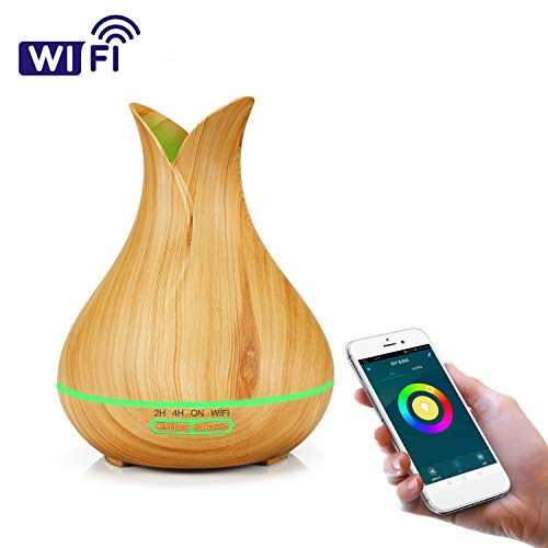 Aroma Diffuser 400ML Essential oil Diffuser Ultrasonic Humidifier with 7 Color LED Lights, Auto Shut-Off, Timer Settings and Remote Control for Baby Room, Bedroom, Spa and Office