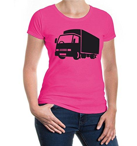 buXsbaum® Girlie T-Shirt Truck-Silhouette V2 Fuchsia-Black