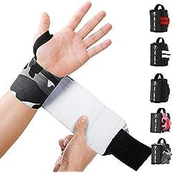 REP AHEAD® Wrist Wraps - Deine neuen Handgelenk Bandagen fürs Workout - Der extra bequeme 100% Handgelenkschutz für echte Athleten im Bereich Crossfit, Fitness, Calisthenics & Bodybuilding (Grau-Camo)
