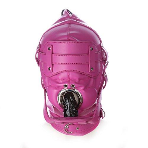 ShineBlue Hot Pink Leder Bondage Gimp Maske Kopfhaube mit 2 Nasenlöchern 6