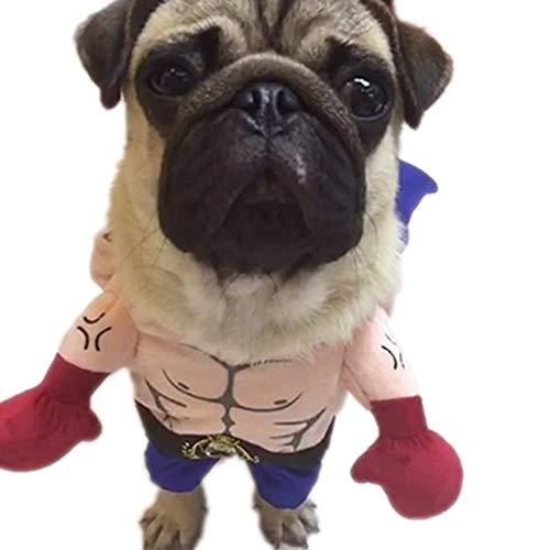 Boxer Kostüm Pet - Lustige Hunde Katze-Kostüme, Haustier Hund Katze Halloween Kostüme Boxer Cosplay Anzug Halloween Weihnachten Uniform Kleidung,L