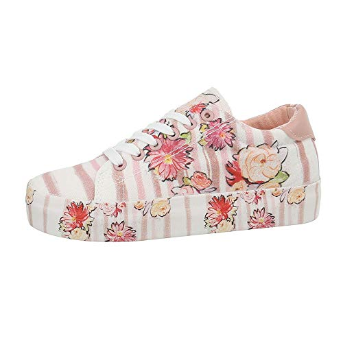 Ital-Design, Low-Top Donna, Bianco (Weiß Rosa G-172-), 40 EU