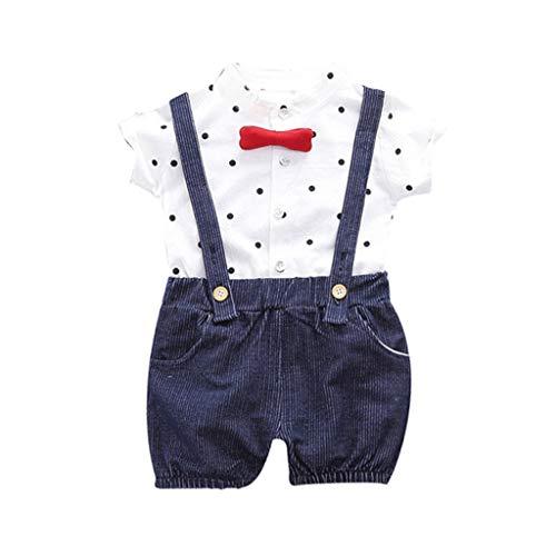 Kostüm Säugling Kleinkind Hexe Oder - Deloito Kinder Jungen Overalls Kleidung Kurzarm Plaiddruck Bogen T-Shirt Tops + Kurze Hosen Kleinkind Baby Zweiteilige Outfits Set (Marine,70/[6-12 Monate])