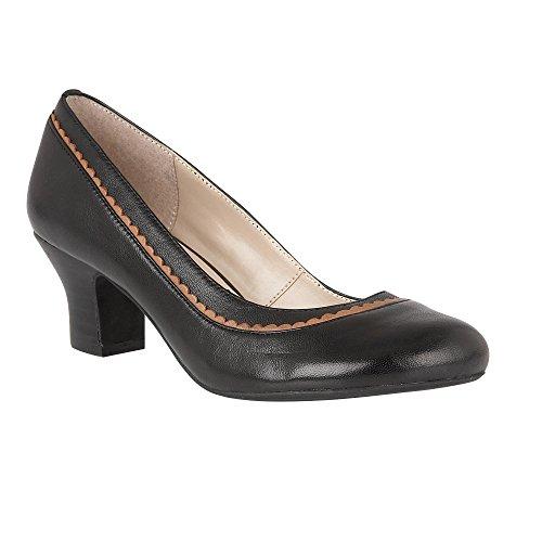 Lotus Hallmark Orinda Black Leather Block-Heel Court Shoes 5