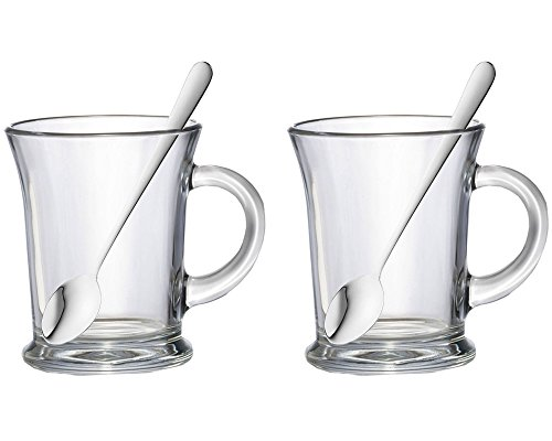 Set Of 2 38.5cl Essentials Aroma Large Clear Glass Tea Coffee Latte Cappuccino Hot Chocolate Drinks Cups Mugs Glasses & Latte Spoons