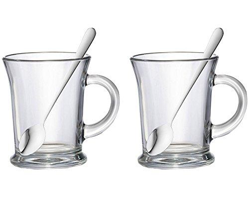 Lot de 2 Aroma 38.5cl Essentials-Grand verre à thé ou à Café Latte/Cappuccino Choco Gobelets à boissons chaudes Verre &tasses avec cuillères