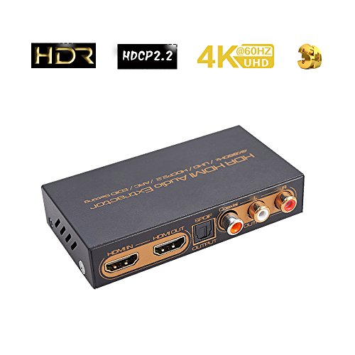 HDR HDMI Audio Extractor Splitter 4K@60Hz/UHD/hdcp2.2/ARC/EDID | HDMI Convertir  HDMI/Toslink/Coaxial/RCA(L/R) Audio Out PS4PRO Blu-ray Home Cinéma (Hdmi-switch, Rca)