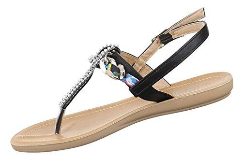 Damen Sandalen Schuhe Dianetten Zehentrenner Damenschuhe Strasssteinchen Schwarz Beige Rosa Weiss 36 37 38 39 40 41 Schwarz