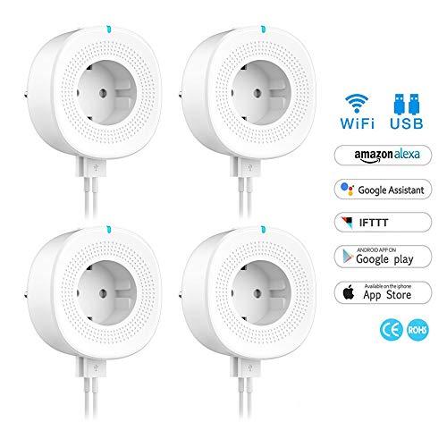 WiFi Smart Steckdose,WLAN Smart Plug Kompatibel mit Alexa und Google Home, USB Port, Timing Funktion, Fernbedienung Ihre Ger?te ¨¹berall,kein Hub erforderlich (4 Packs)
