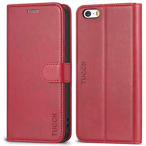 TUCCH Hülle für iPhone SE / 5S, Handyhülle [Buchstil] [Softer TPU] Wallet Case Schutzhülle PU-Lederhülle [Aufstellfunktion] [Kartenfach] Magnet Kompatibel für iPhone SE/5S/5, Rot