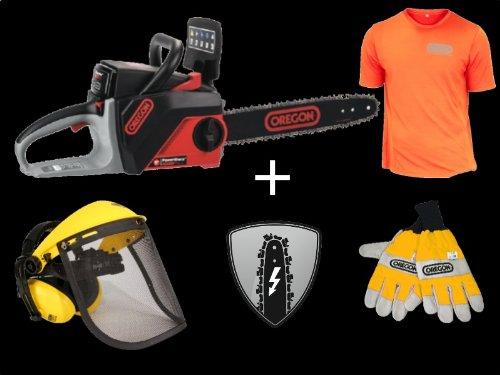 Sonderaktion Oregon PowerNow Akku Kettensäge CS 250 Bundle + T-Shirt + Schnittschutzhanschuhe + Gesichts- Gehörschutz