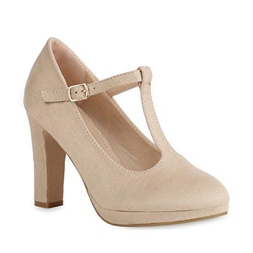 Damen Pumps Mary Janes T-Strap High Heels Elegante Party Schuhe Creme Velours 40 (Creme Tanz Kostüm)