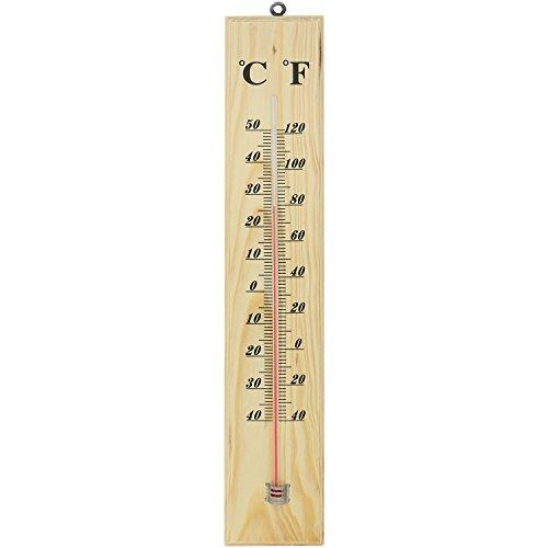 com-four® großes Holz-Thermometer für Innen und Außen aus Holz mit Grad Celsius und Grad Fahrenheit Skala (01 Stück - 40x7.1x1.1cm)