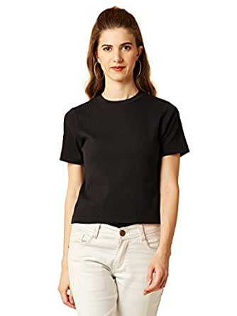 Miss Chase Women's Short Sleeves Round Neck Slim Fit Cotton Tee/Top/T-Shirt