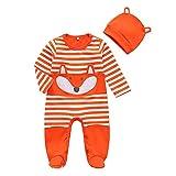 da 3 A 24 Mesi Bambina Jimmackey 2pcs Neonato Cartoon Pagliaccetto Beb/è Manica Lunga 3D Volpe Stampa Tutine Body