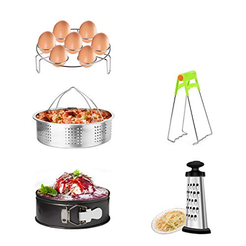 MARKKEER Instant Pot Accessories Set with Steamer Basket, Egg Steamer Rack, Non-Stick Springform Pan, Dish Clip,Box Grater