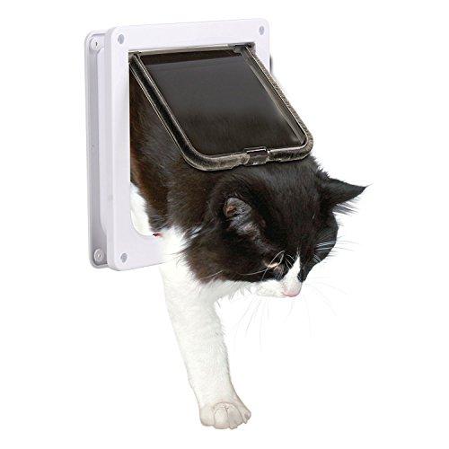 Preisvergleich Produktbild Katze Tür XGUO Katzenklappe 4-Wege Abschließbar Haustiertüre für Hunde Katze Hundeklappe Haustierklappe Cat Door(Groß,Weiß)
