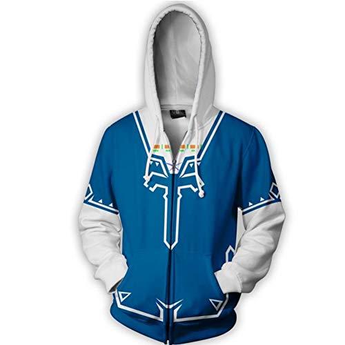 DealTrade Zelda Hoodie Jacke Cosplay Kostüm Herren Zip Kapuzenpullover Sweatshirt Langarm Kleidung Mit Kapuze Oberbekleidung für Frühling Herbst