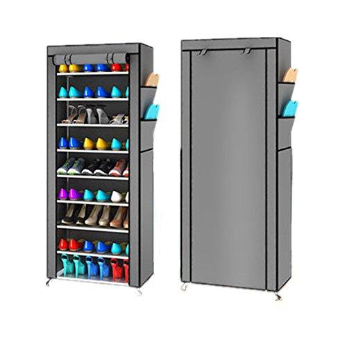 Estantería armario zapatero 10pisos Cabinet mueble almacenaje multifunción con funda cremallera...