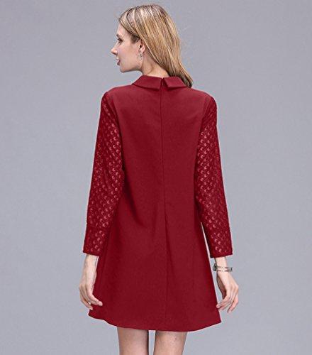 NiSeng Damen Hollow Out Blusenkleid Casual Minikleid Langarm Kleid mit Spitze shirtkleid komfortable Kleider Tunika Rot