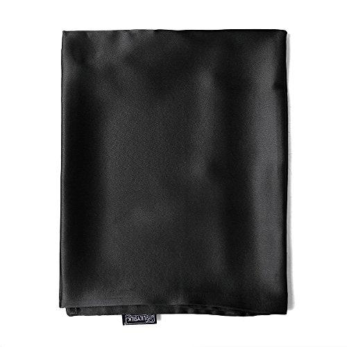 LilySilk Seide Kopfkissenbezug Kissenbezug Kissenhülle Seidenkissenbezug mit Hotelverschluss 1 Stück aus 100% hochwertigster 25 Momme Maulbeerseide (Schwarz, 80x80cm) Verpackung MEHRWEG