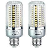 Bulbright 2er-Pack LED Glühbirne E27 Mais Lampe ersetzt 20W, 1500 Lumen, 2700K warmweiß , 85-265V AC Nicht Dimmbar Energiesparlampe Super Hell für Garage Fabriklager Werkstatt Garten Hof (2700K-warmweiß, 20 Watt)