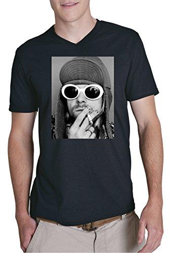 Certified Freak Kurt Smoking V-Neck T-Shirt Black XXL Selbstmord Tshirt