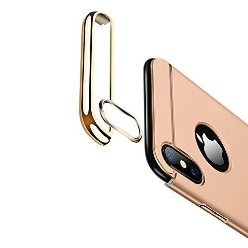 Vandot Exclusif Design Coque Étui pour iPhone X / iPhone 10 Détachable Air Plastique Dure de PC Retour Bumper Case Cover pour iPhone X 5.8 Pouces Ultra Slim Thin 0,9 mm Matte Building Pratiques de Pro Détachable-Or