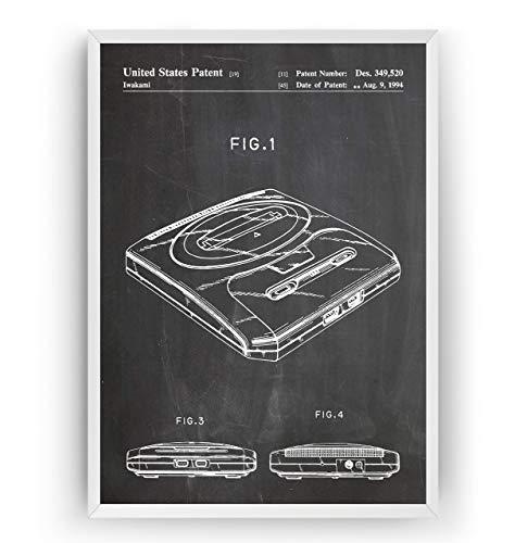 Mega Drive 2 Patent Poster - Gamer Gaming Print Gift Vintage Blueprint Retro Girls Boys Video Games Room Wall Art Bedroom Original Decor Classic Old Antique - Frame Not Included (Original-ps2-system)