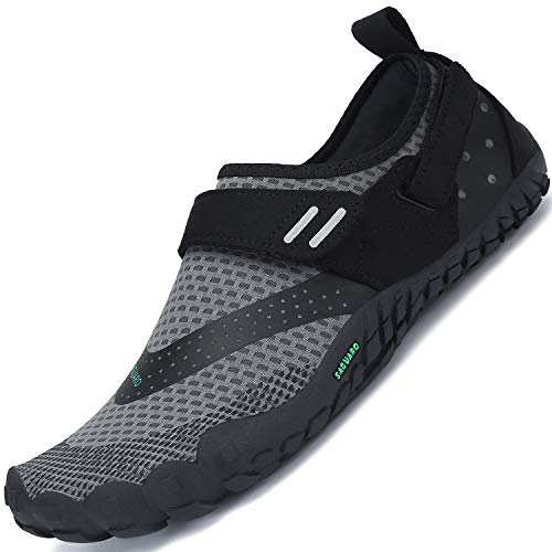 SAGUARO Damen Herren Barfußschuhe Traillaufschuhe Fitnessschuhe mit Weich Dicke Sohle, Schnell Trocknend Badeschuhe Grau A 44
