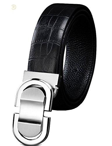 Menschwear Men's Adjustable Belt Genune Leather Waistband with Copper Slide Buckle 35MM
