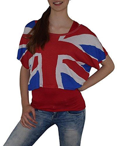 S&LU super angesagtes 2-teiliges Fan - Flag - Top Deutschland Italien Frankreich England Spanien USA Größe 34-40 (XS-L) (one size, England-rot) (Usa Sport-fußball-t-shirt)