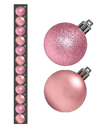 12 x 3cm mini baubles natale - bambino rosa - pink blush - assortiti matt + gl ...