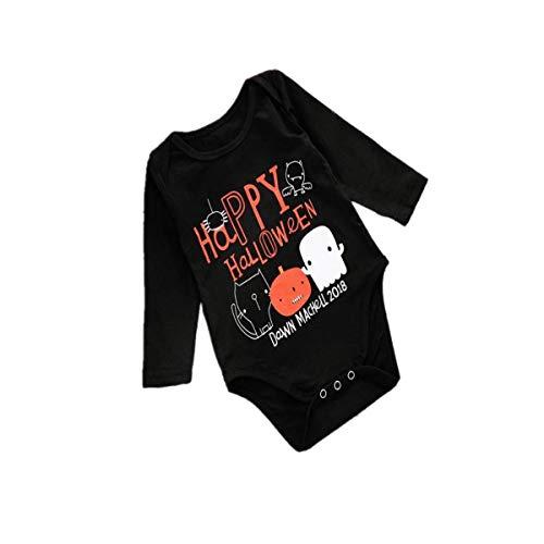 Blingko Baby Langarm Halloween Karneval Kleinkind Baby Mädchen Jungen Brief Strampler Overall Halloween Kostüm Outfits Baby Langarm Halloween Brief Kürbis Print Haber (Mountain Mann Kostüm Kind)