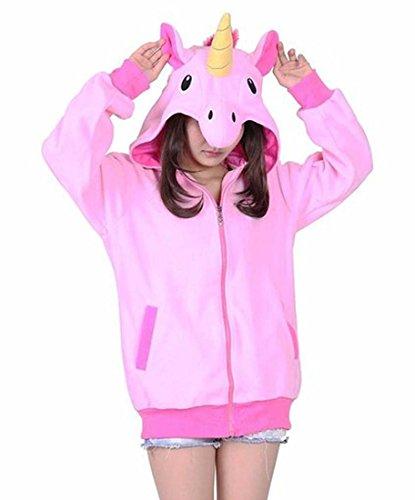 Magicmode Womens Cartoon Anime Hoodies Veste Unisexe Animaux Fermeture Éclair Sweat-Shirt Manteau Costumes Cosplay Rose Licorne M