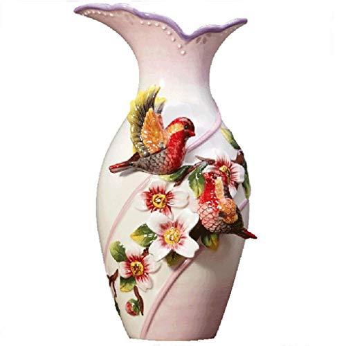 MTX Ltd Vase Jardiniere Frische Blume Keramik Porzellan Hohe Kreative Roman Krug Paar Vogel Haus für Schlafzimmer Wohnzimmer Büro Studie -