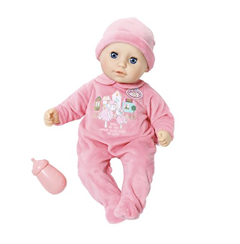 Zapf Creation - My First Baby Annabell Weiche Babypuppe mit Schlafaugen, pinkem Strampler und Mütze, Inklusive Trinkfläschchen, geeignet ab 12 Monaten, rosa, 36 cm