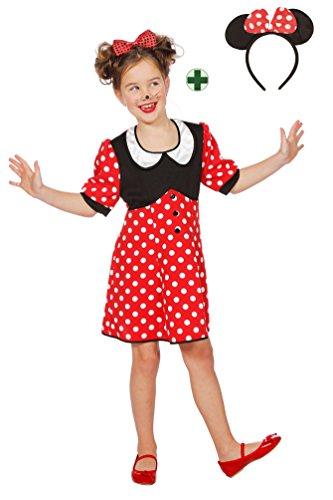 Karneval-Klamotten Minnie Mouse Kostüm Kinder Minnie Maus-Kostüm Mädchen Karneval Kinder-Kostüm MIT Ohren Größe 128 (Kinder Maus Kostüme Minnie)