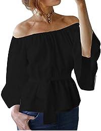 Meedot Mujeres Blusa Camiseta Gasa Tops - Señoras Pullover Casual Off The Shoulder Blusa Niña Moda Ropa Tunic