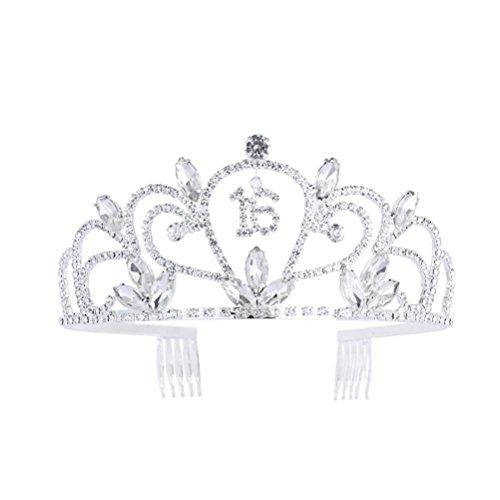 (GreeStore Strass Bonbon 16 Tiara Kristall Krone für 16. Geburtstag Geschenk Party Crown Kamm Haar Clip Stirnband)