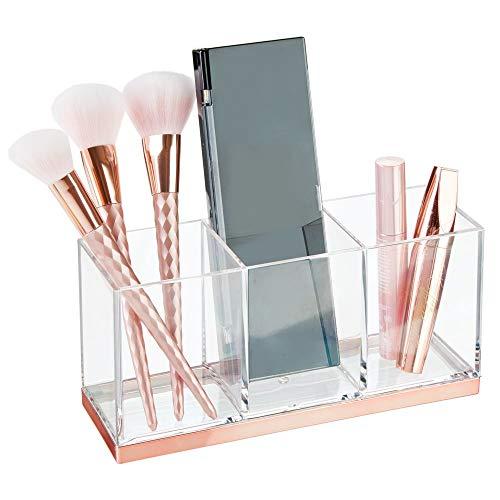 mDesign großer Make-up Halter mit 3 Fächern - praktischer Sortierkasten für Kosmetik - quadratische Schminkbox aus Kunststoff - durchsichtig und rotgold