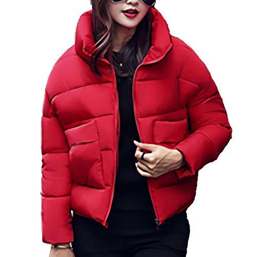 Hikenn Mode Winterjacke Frauen Daunenmantel Brot Serviert Kurze Lose Baumwolljacke Kragen Wintermantel Frauen Parkas Rot