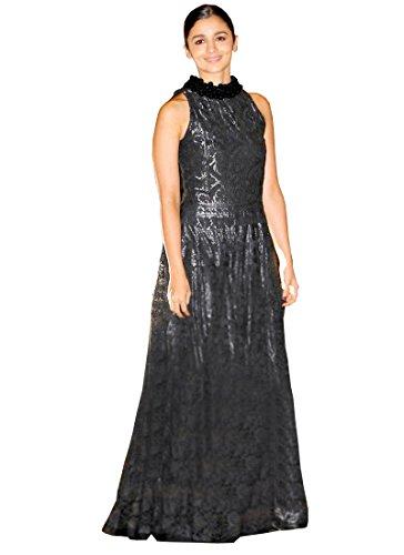 Isha Enterprise Women's Cotton Black Multi Work Gown