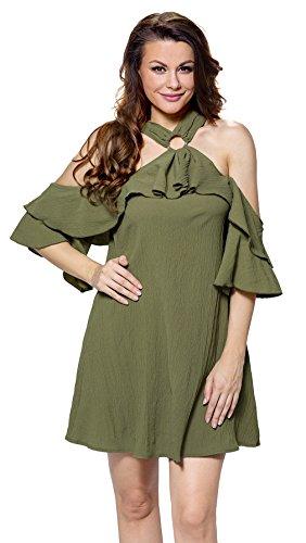 Lukis Damen Sommerkleid Schulterfreies Party Mini Strandkleid Armee-Grün