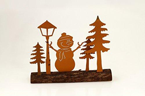 Schneemann auf Holz Sockel Tannenbaum Laterne Rost Deko Figur Skulptur Statue