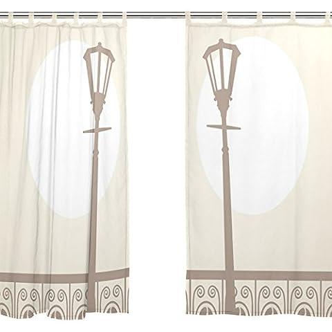 jstel 2Pcs Voile Fenster Vorhang, Vintage night city Skyline, Tüll Sheer Vorhang Tuch Querbehang 139,7x 198,1cm Zwei scheibenelementen Set