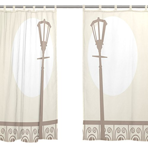 jstel 2pcs Voile cortina de ventana, Vintage noche ciudad Skyline, de tul pura cortina Drape cama 55x 78(dos paneles