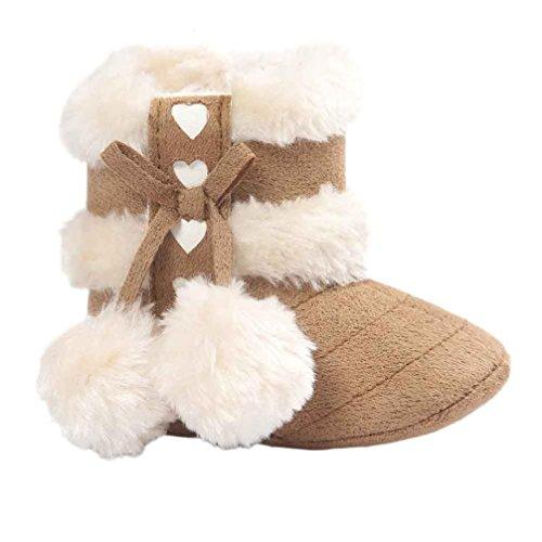 Kingko® bambino molli soli scarponi da neve scarpe culla morbidi stivali bambino scarpe inverno del bambino (0~6 mesi, Cachi)
