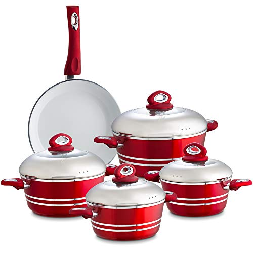 Chef's Star 9 Piece Professional Grade Aluminum Non-Stick Pots & Pans Set - Induction Ready Cookware Set … (Red)