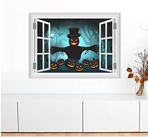 LXHLXN Kürbis Laterne Vogelscheuche Dark Forest Wandaufkleber Halloween Dekoration 3D Gefälschte Fenster Home Decals DIY Festival Wandbild Kunst